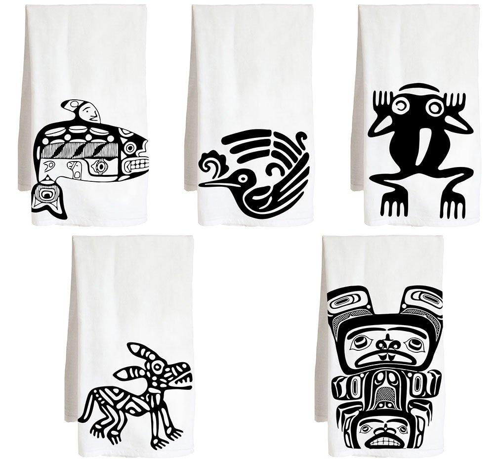 Live Nice Native Symbol Five Pack - American Indian - Farm Flour Sack Kitchen Tea Towel