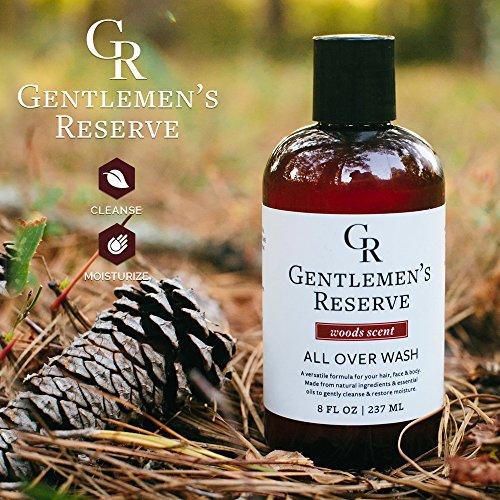 Men's Organic Woods Wash 2 in 1 - Body Wash + Face Wash - All Natural & Organic - Good for Normal, Dry Skin or Sensitive Skin (Cedarwood & Pine)