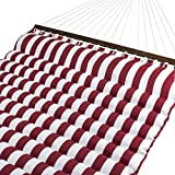 Cheap Best Choice Products Plush Quilted Double Hammock w/Spreader Bars – Red/White
