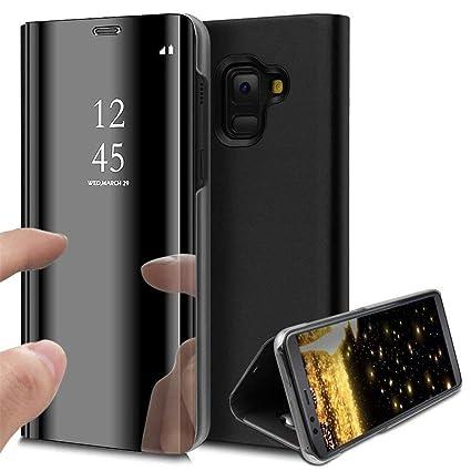 online retailer ef637 dfed6 TGK Clear View Mirror Flip Smart Stand Case Cover For Samsung (Galaxy  J6(2018), Black)