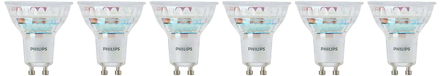Philips - Pack de 6 Bombillas LED Gu10, 5 W Equivalente A 50 W, Regulable, Blanco Cálido: Amazon.es: Iluminación