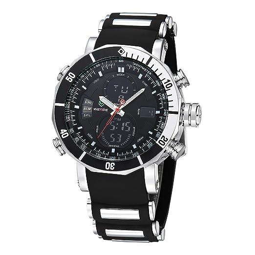 WEIDE - Reloj de pulsera para hombre, correa de silicona, resistente al agua, movimiento digital LCD de cuarzo: Amazon.es: Relojes