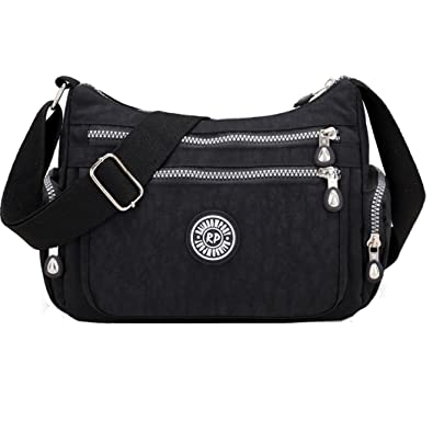 a74b75b811 Women Messenger Bag Casual Waterproof Nylon Handbag Shoulder Bag Cross Body  Bag (Black)