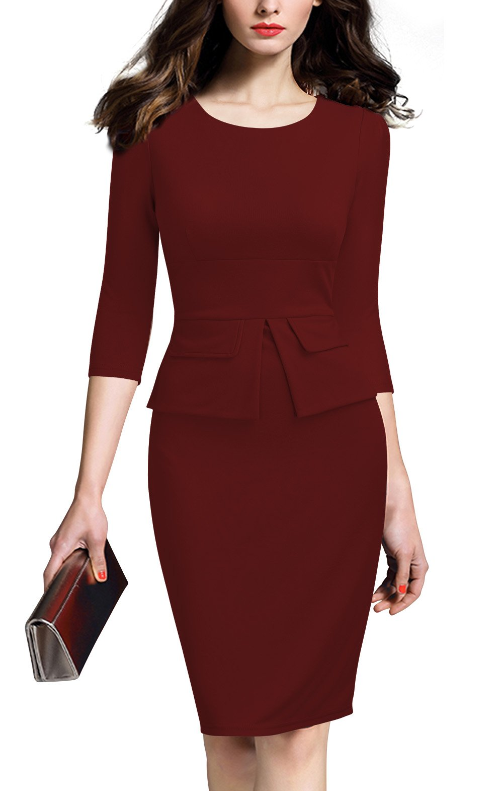 REPHYLLIS Women Colorblock Wear to Work Business Bodycon One-Piece Dress L Burgundy