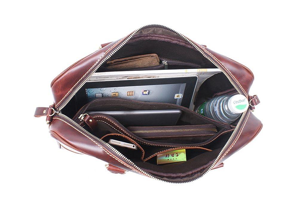 Genda 2Archer Men Women Crazy Horse Leather Tote Shoulder Bag Business Messenger Handbag