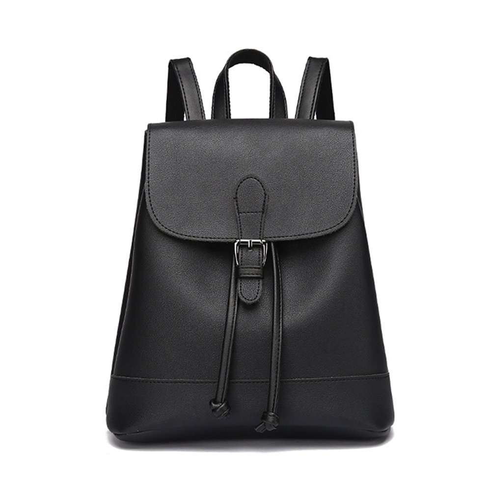 Huabor Fashion School Leather Backpack Shoulder Bag Mini Backpack for Women & Girls (Black2)