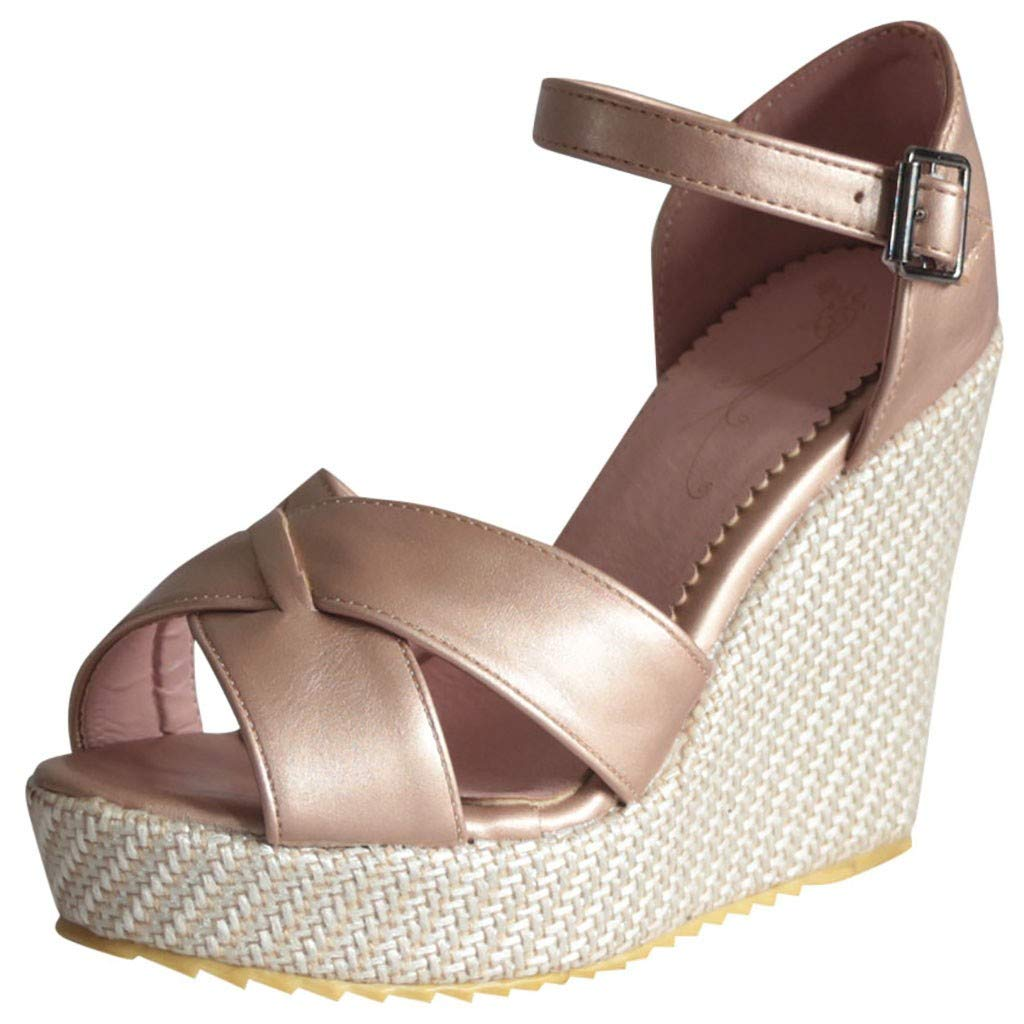 VESNIBA Women's Wedge Sandals Thick-Soled Waterproof Buckle with Roman Sandals Pink