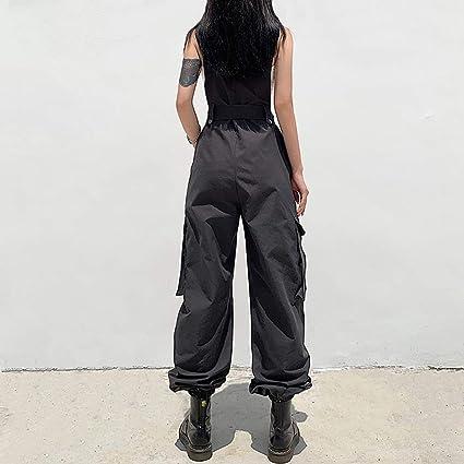 Damen Herren Ärmellos Latzhose Hose Overall Cargohosen Baggy Hip Hop Jumpsuits