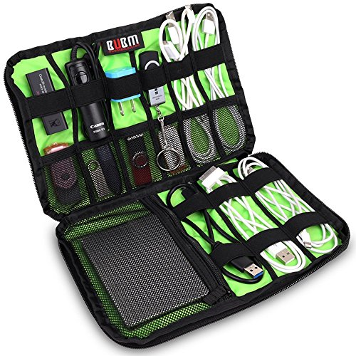 BUBM Portable Universal Electronics Accessories Organizer,Travel Gear Organizer for Phones, USB Cables,Power Banks, Cameras,Hard Disk and Etc.by SENHAI(Medium,Black)
