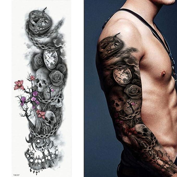 7pcs Pieza Rosa tatuaje de flores de peonía patrón completo ...