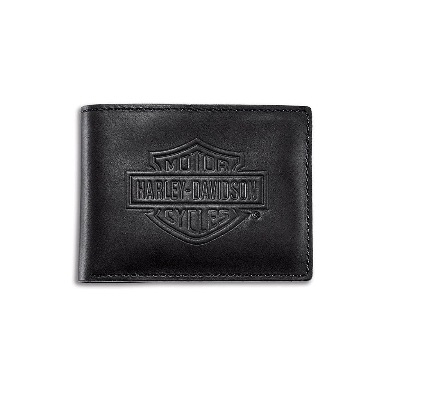 Harley-Davidson Mens Bar & Shield Logo Flip Fold Black Leather Wallet 99463-06V