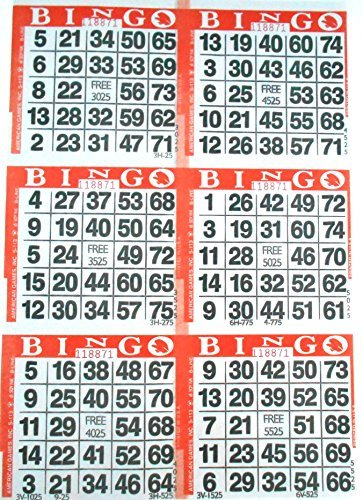 6 on Orange Bingo Paper Cards - 500 Sheets - 3000 Cards by American Games