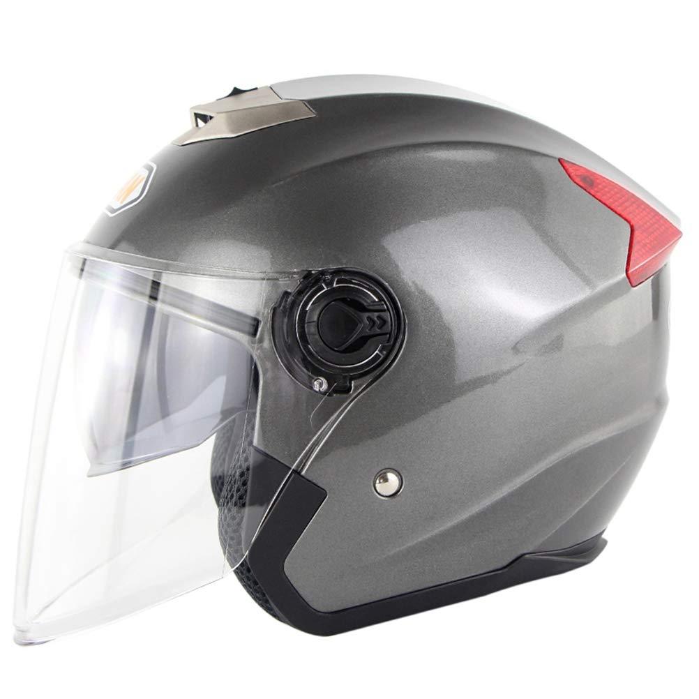 Casque De Moto Ouvert Int/égral Scooter Double Visi/ère Casque De Protection Dot pour Hommes Et Femmes Adultes