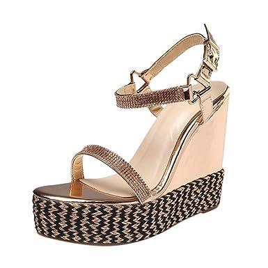 a5588ee123a5a Sunyastor Wedge Sandals for Women Peep Toe PU Belt Buckle Blocking  Adjustable High Platform Ankle Strap