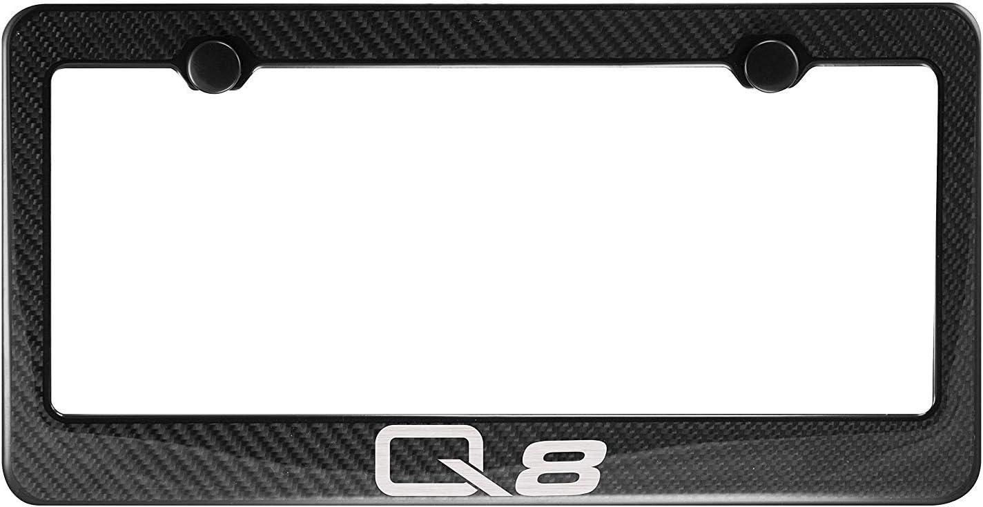 Lavnox Carbon Fiber Metal Q8 License Plate Frame Tag Holder Mount for Audi Q8 1