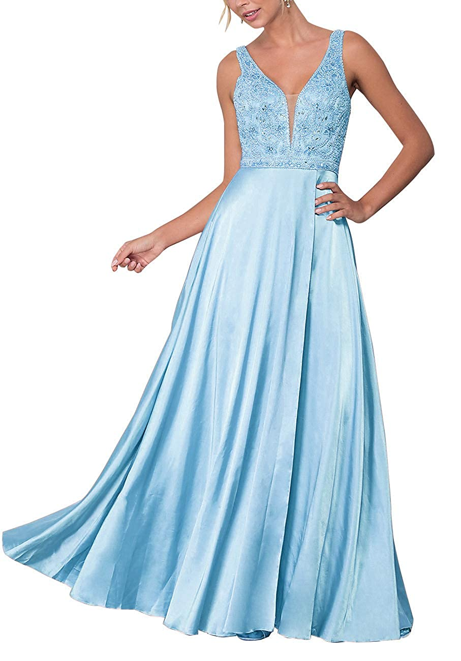 Sky bluee Staypretty Prom Gown Long Beaded V Neck Women's Formal Evening Party Dresses Side Slit