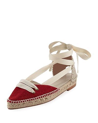 6acbb62d3 Amazon.com | Castaner by Manolo Blahnik Colorblock Ankle-Wrap D'Orsay  Espadrille, Red/White 41 | Sandals