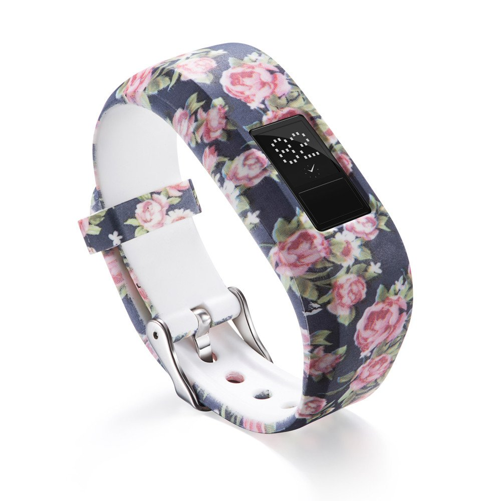 Garmin Vivofit 3 Bands,Lovewe Soft Silicone Replacement Strap Accessory Flower Printing Wristbands For Garmin Vivofit 3 (I)