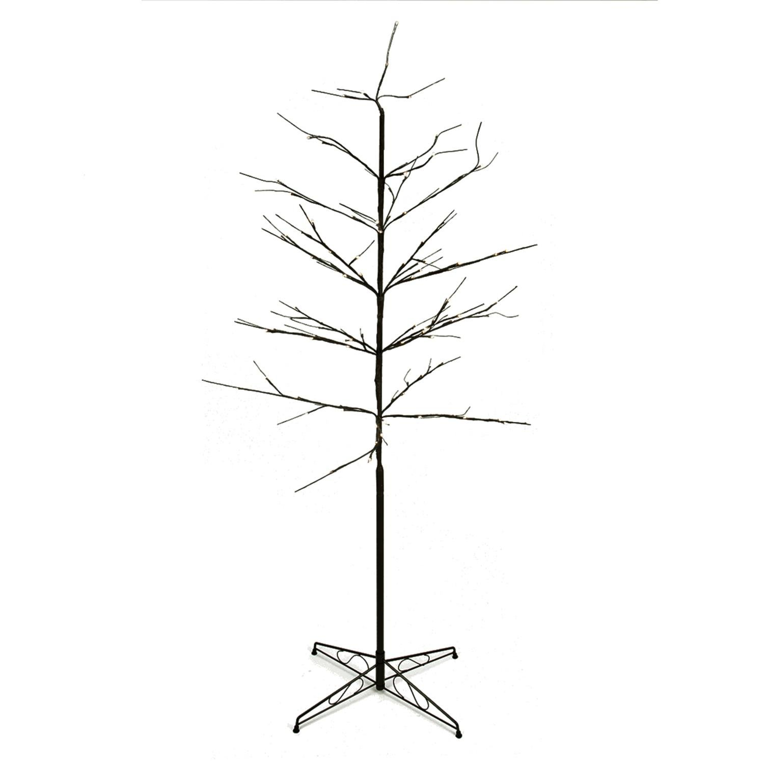 PENN 6' LED Lighted Color Combo Christmas Twig Tree Outdoor Yard Art Decoration Artificial, Brown