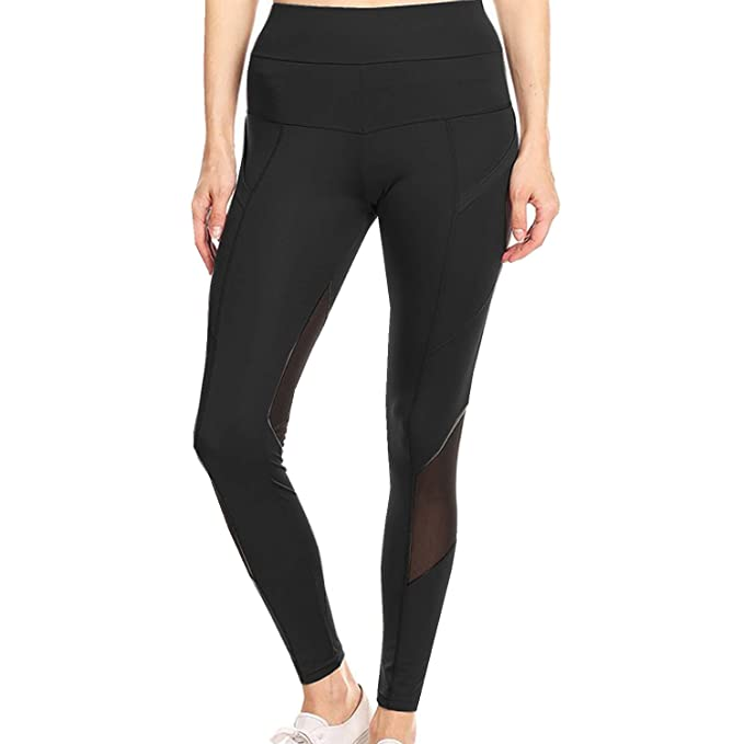 c77fe0548ead Runner Island Womens Black Compression Mesh Panel Leggings Tummy Control ( Small)