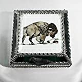 Buffalo, Bison, Stained Glass Jewelry Box, Presentation Box, Keepsake Box, Glass Jewels, Swarovski Crystals, USA Made