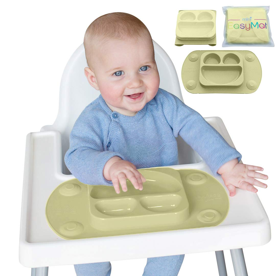 EasyMat Mini Portable Baby Suction Plate, with Lid and Carry Case for High Char Feeding and Travel (Olive)