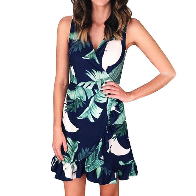 f60318de1aa0 Btruely Vestidos Mujer Verano, Vestido Corto sin Mangas con Cordones ...