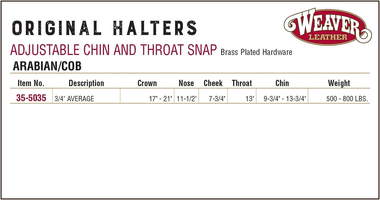 Weaver Leather Original Adjustable Chin and Throat Snap Halter 3//4 Arabian//Cob 3//4 Arabian//Cob 35-5035-SB