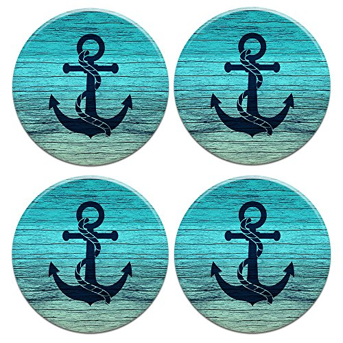 (CARIBOU ROUND Ceramic Stone Coasters 4pcs Set, Mug Coffee Cup Place Mat Home Coasters for Hot & Cold Drinks, Blue Anchor Wood )