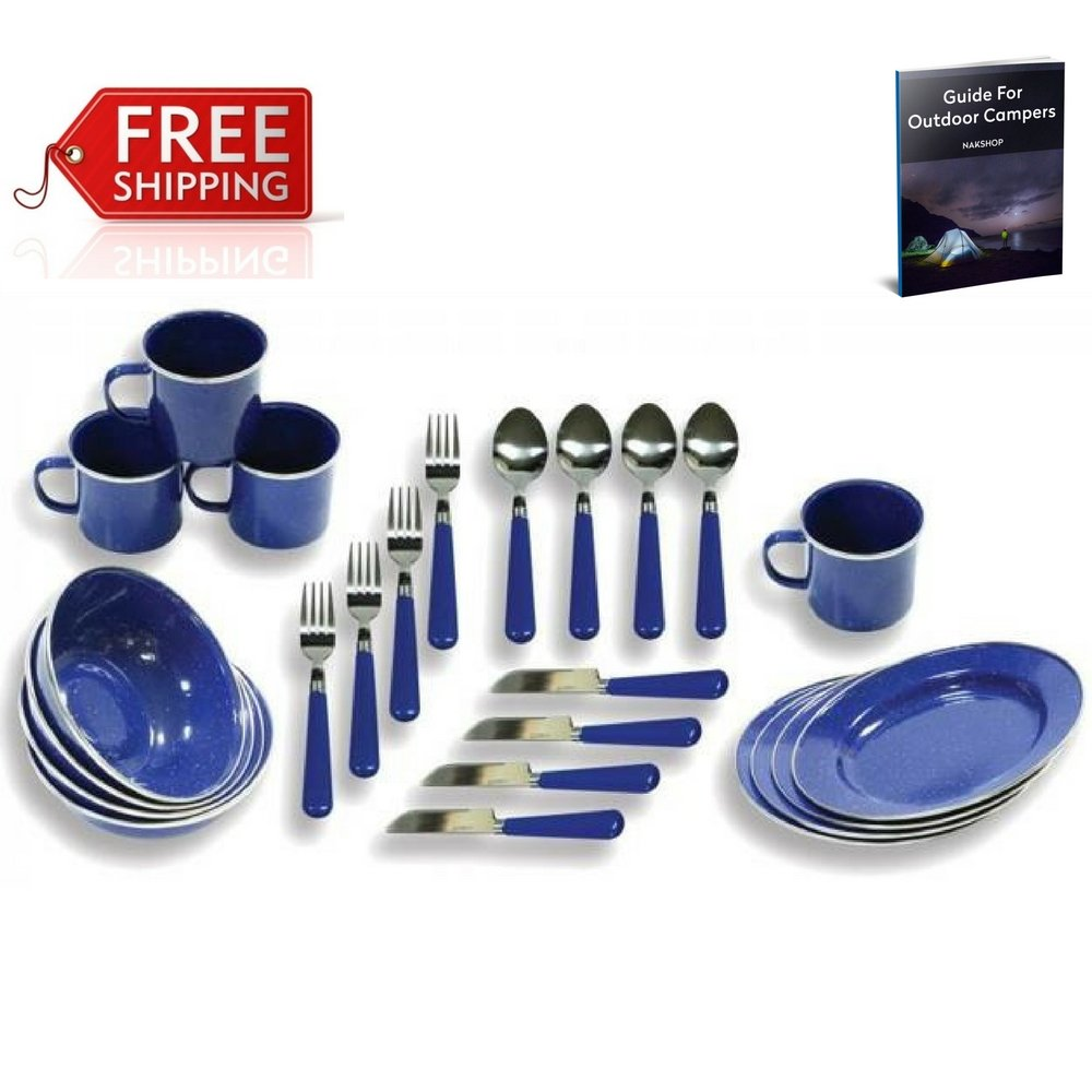 NAKSHOP Camp Dinnerware Enamel 4 Person Blue Camping Tableware Set Picnic Rv Stainless Steel Lightweight Family Outdoors Backpacking Hiking Trekking Survival Gear Supplies Utensils Set And eBook By