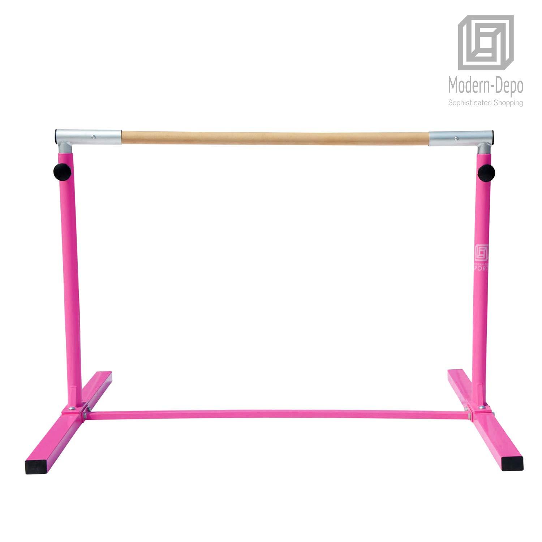 Modern-Depo Junior PRO Gymnastics Kip Bar | Adjustable (3'- 5') Training Horizontal Bar Beech Wood - Pink by Modern-Depo (Image #7)