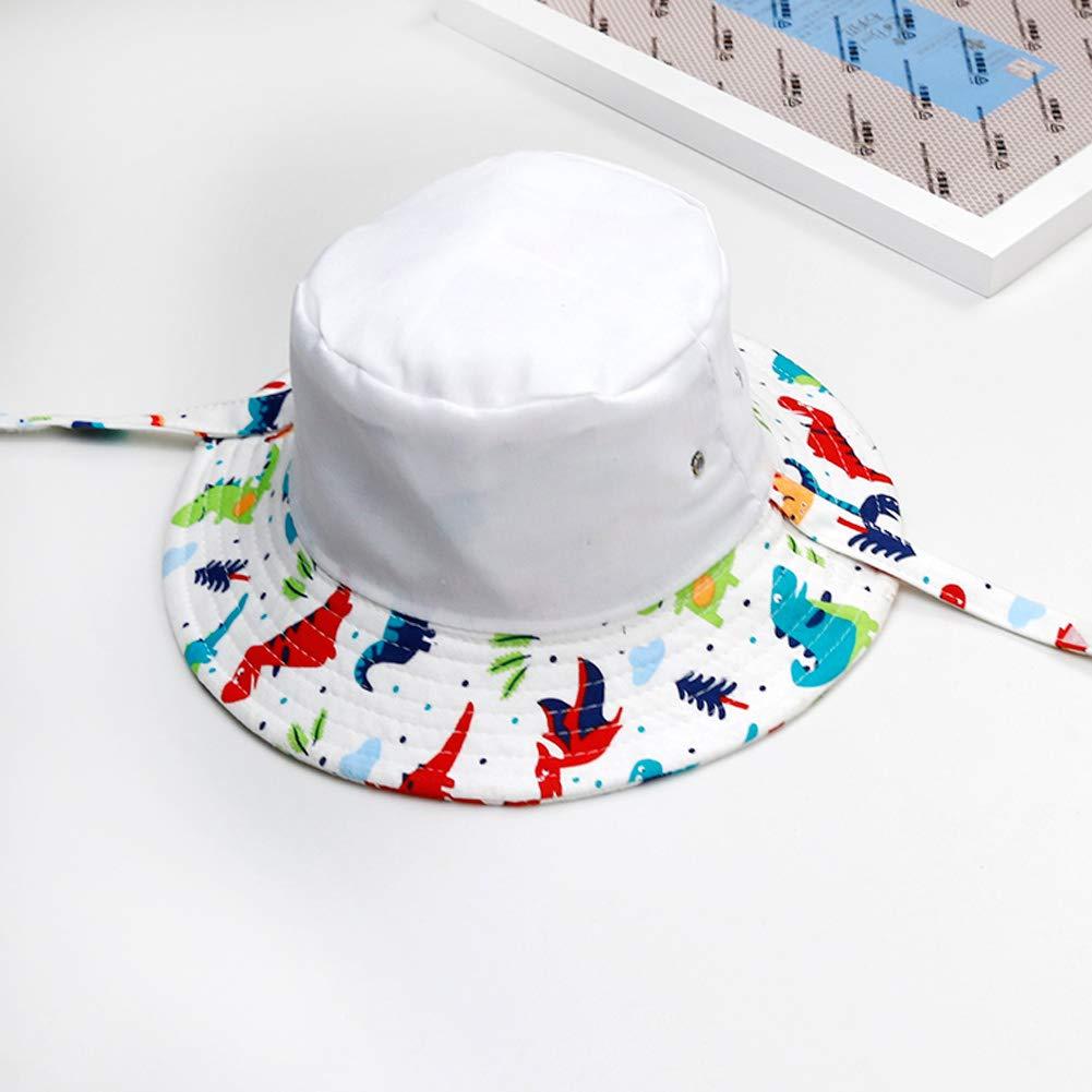 Happy Cherry Chapeau de Soleil B/éb/é Gar/çon Coton Anti-uv Et/é Pliable Bonnet avec Cordelette Imprim/ée Plage Vacances Cadeau Naissance 0-2ans