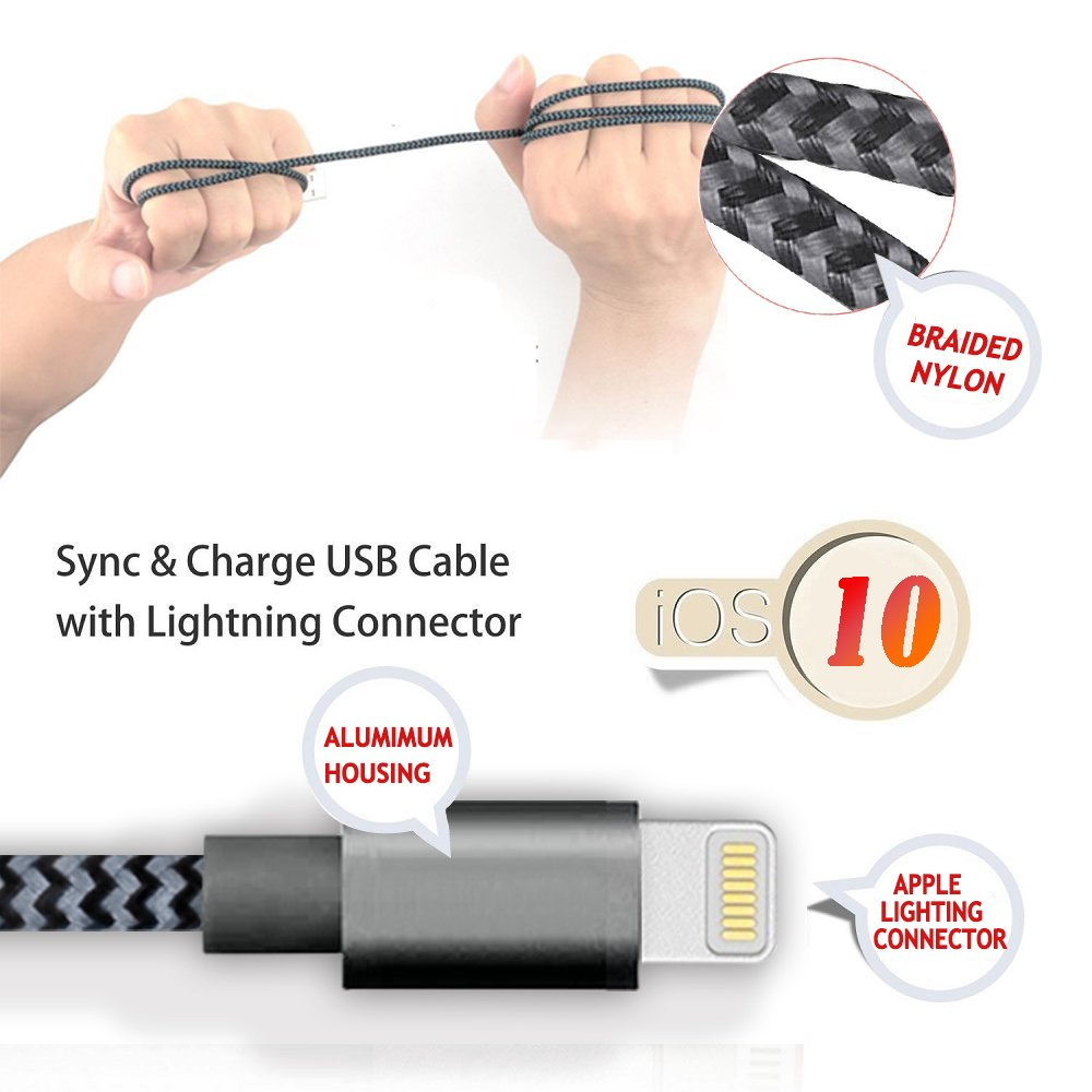 Froggen Chargeur Phone Cable Phone 3M [Pack de 2] Chargeur pour Phone Rapide Cordon vers USB Compatibilité pour Phone XS XR Max X 8 Plus 7 Plus 6s Plus 6 6plus Se 5c 5s 5,Pad Pro,Air,Mini-Gris&Noir