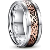 King Will DRAGON 8mm Rose Gold Plated Celtic Dragon Tungsten Carbide Band Ring Size7-15