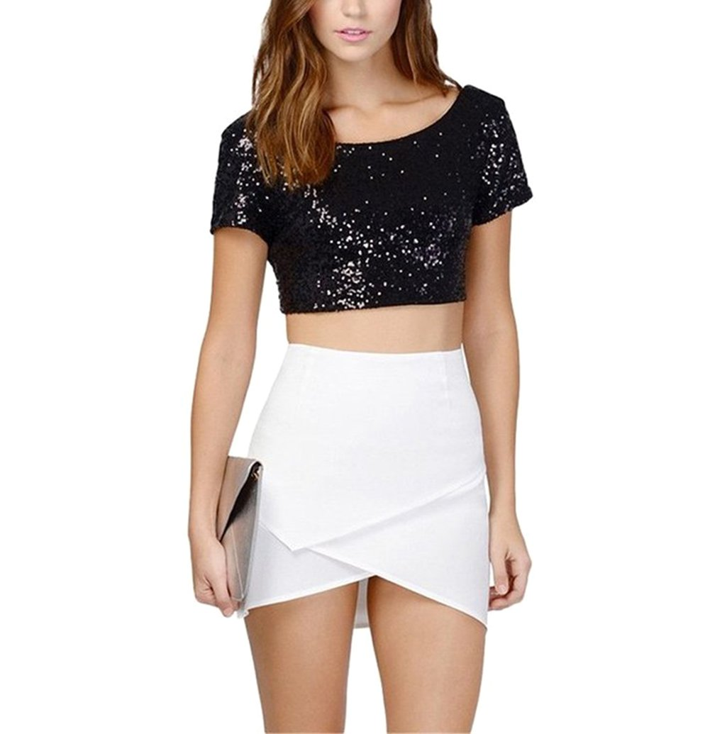 CC-US Women's Dazzling Sequins Backless Crop Top Summer Short Sleeve T-Shirt Sexy Clubwear