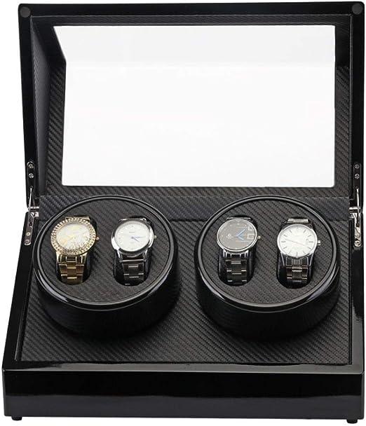 L-life Cajas giratorias 4 Relojes Winder para Hombre a Relojes de Almacenamiento, 2 Relojes Winder Dual Watch Winder Box Display Reloj con: Amazon.es: Hogar