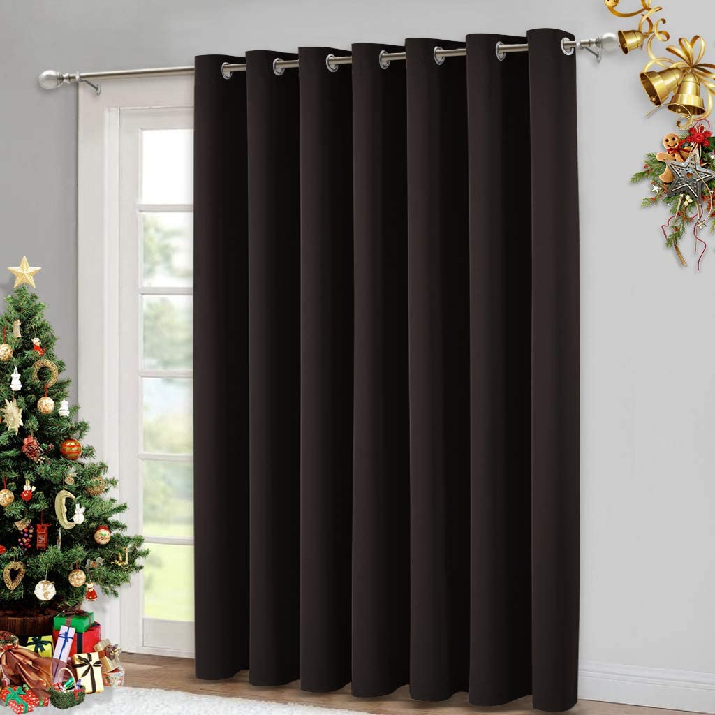 NICETOWN Blackout Curtain for Sliding Glass Door - Insulated Window Covering for Dividing Space/Office, Decorative Light Sound Reducing Patio Door Blinds (Brown, W100 L95)