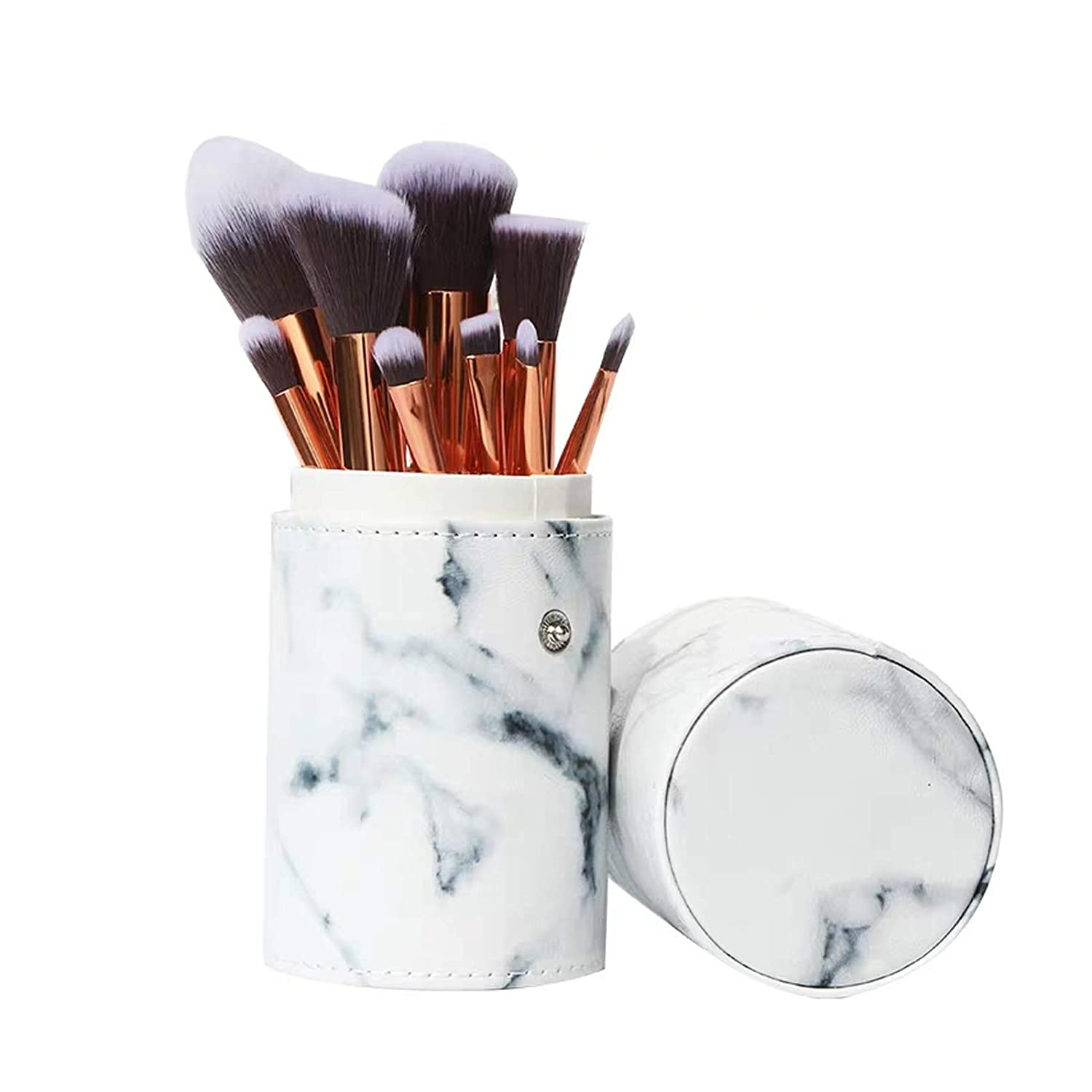 Ruesious Marble Makeup Brush Set with Brush Holder Pot