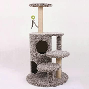 Kaxima Árbol para Gatos Tipo de Escalera de Dos Pisos Madera Cuerda de Espada Mascota Grande