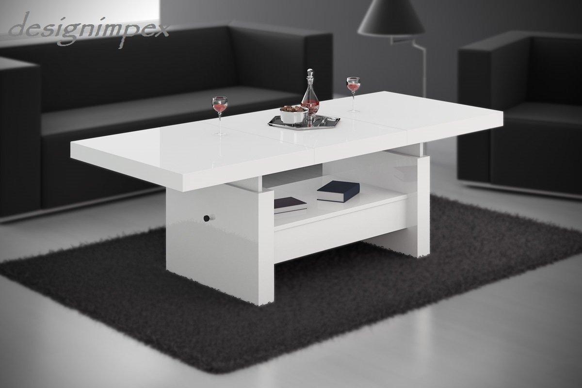 Design Couchtisch H 111 Weiß Hochglanz Schublade Höhenverstellbar  Ausziehbar Tisch Wohnzimmertisch: Amazon.de: Küche U0026 Haushalt
