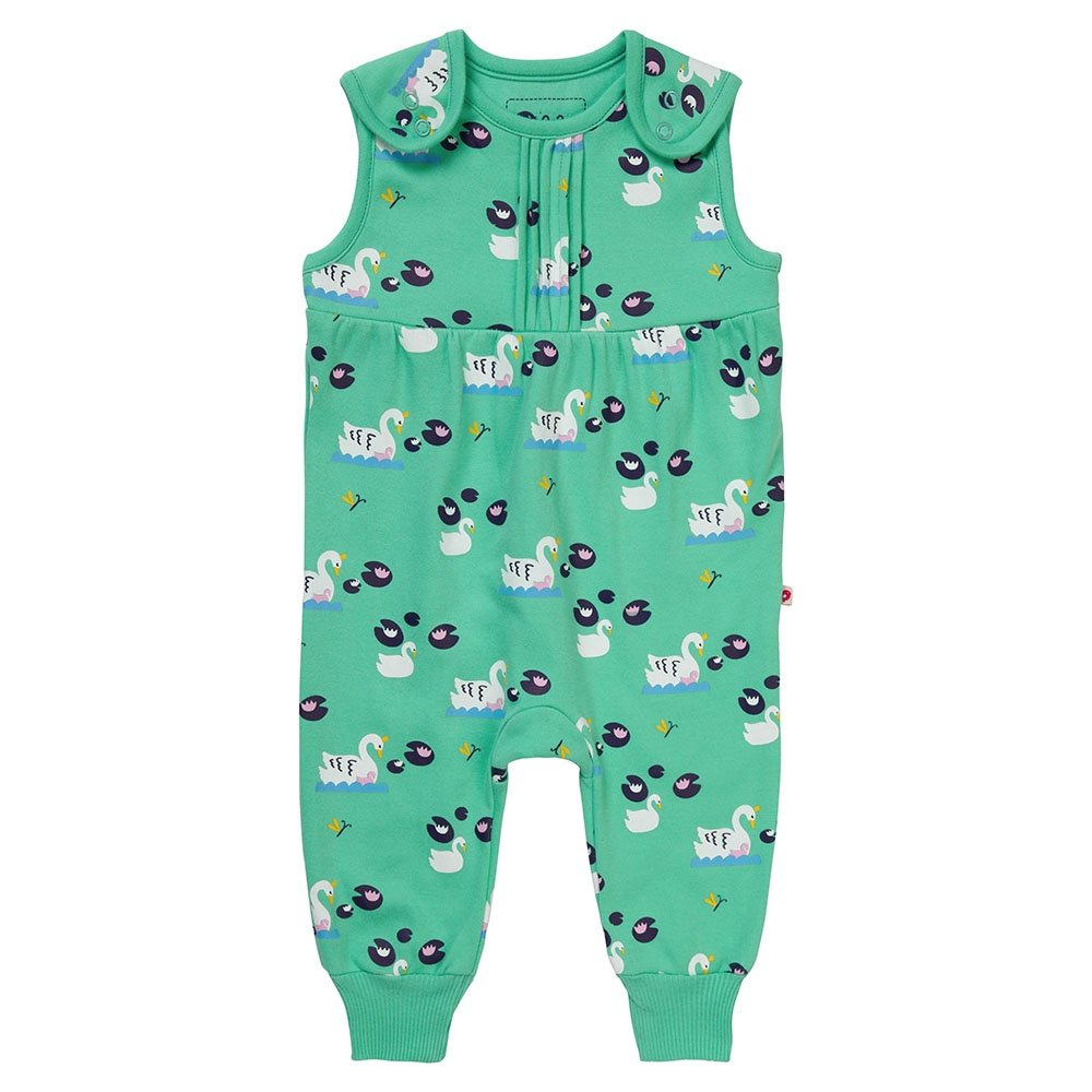 Piccalilly Girls Jersey Dungarees Premium Organic Cotton Mint Green Swan Design