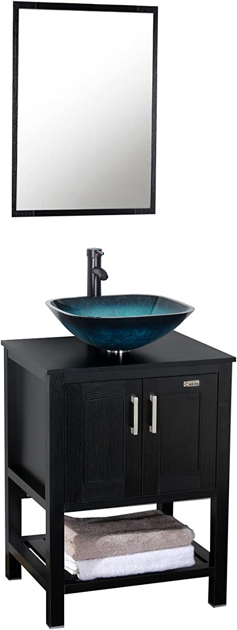 Amazon Com Eclife 24 Modern Bathroom Vanity Cabinet Combo Square Blue Glass Vessel Sink Combo 1 5 Gpm Brass Faucet And Pop Up Drain And Orb Mounting Ring A10b6 Kitchen Dining