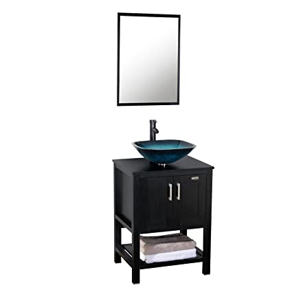 e45ce0102f9 Eclife 24   Modern Bathroom Vanity Cabinet Combo Square Blue Glass ...