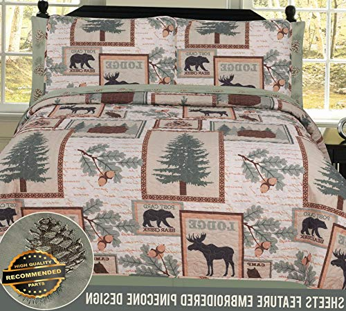 Werrox Twin, Full, Queen or King Elk Bear Rustic Lodge Cabin Quilt and Sheet Bed Set | Twin Size | Quilt Style QLTR-291266635