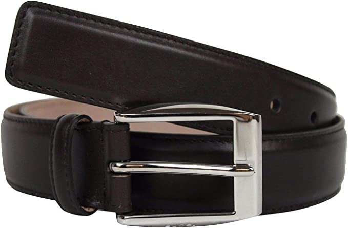 brown leather silver-coated buckle belt