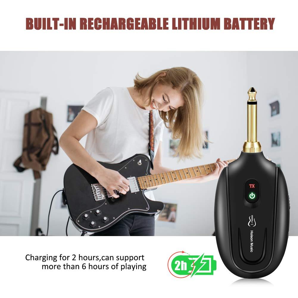 Syst/ème de Guitare Sans Fil Hoison M7 Ensemble de Transmission Audio Rechargeable avec R/écepteur Emetteur Gamme de transmission 30M pour Instrument de Musique Guitare Basse Violon