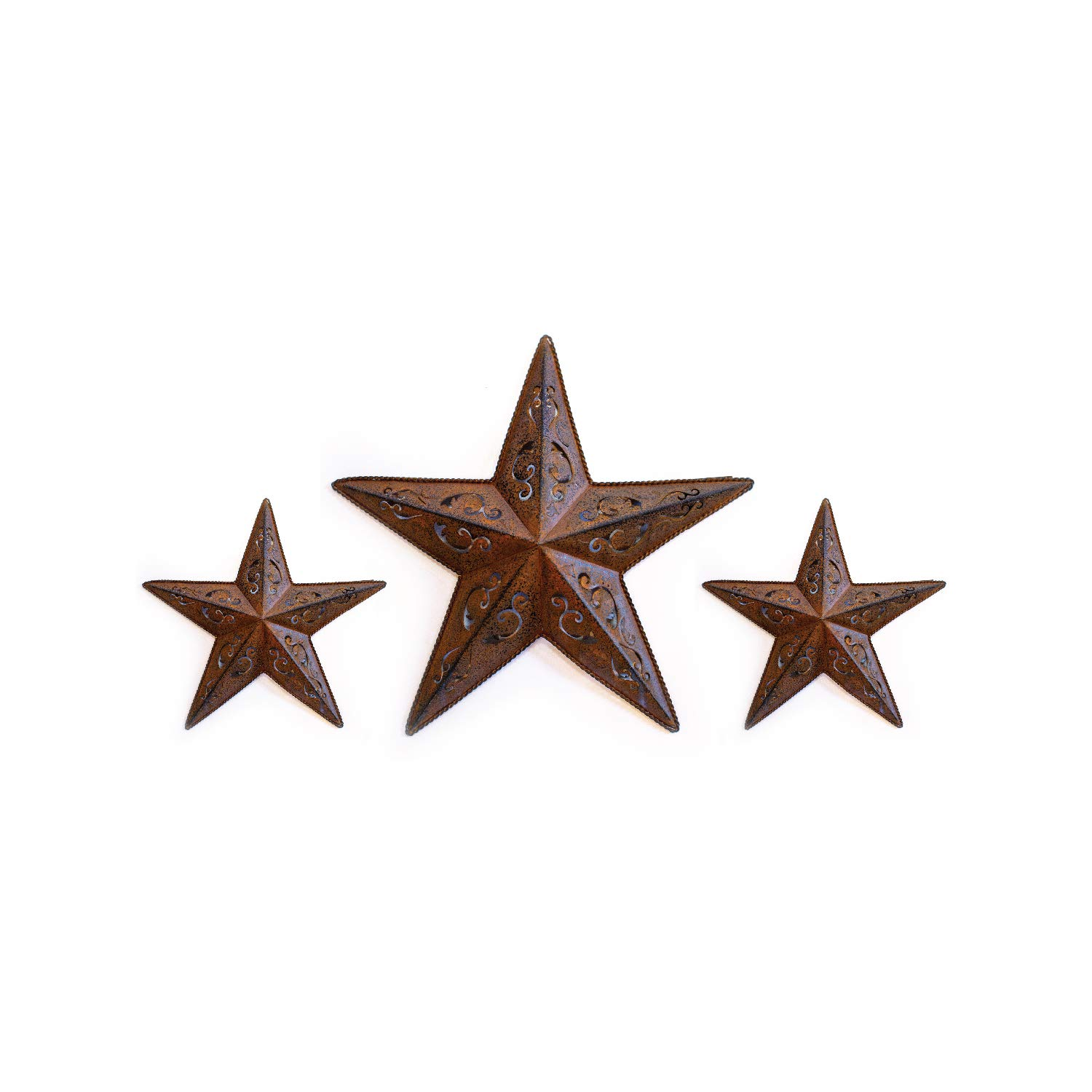"""RUSTY LACY METAL BARN STAR SET - 2X 12"""" 1X 18"""" for rustic country indoor outdoor Christmas home decor. Interior exterior cut out metal stars decorations look great hanging on house walls fence porch"""