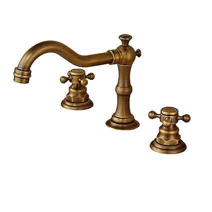 Rozin Antique Brass Widespread 3 Holes Bathroom Sink Faucet Dual ...