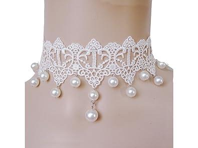Amazon.com  Women s Girls Retro White Lace Handmade Choker Necklace ... ac8d5300bfa2