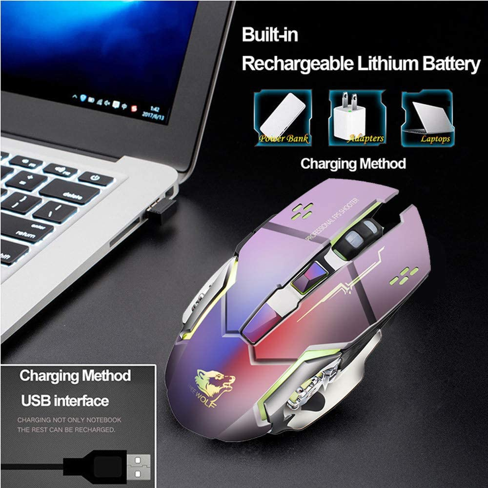 RONSHIN ConsumerElectronics Rechargeable Wireless Silent LED Backlit Gaming Mouse USB Optical Mouse for PC Gray